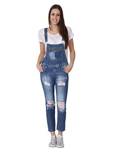 Realty Womens Bib Overalls - Regular Fit 3/4 Length Destroyed Denim Floral Pattern Bib