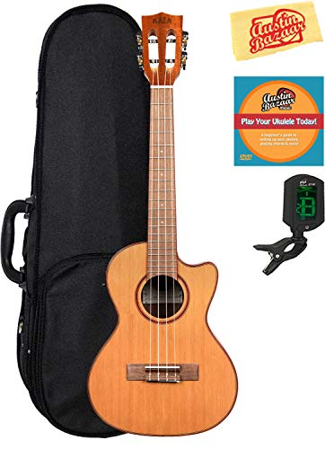 Kala KA-ATP-CTG-CE Acacia Cedar Top Tenor Cutaway Acoustic-Electric Ukulele with Padauk Binding and EQ Bundle with Gearlux Case, Austin Bazaar Instructional DVD, Clip-On Tuner, and Polishing Cloth