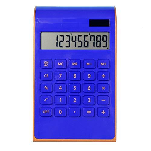 Calculator,10 Digit Solar Dual Power Calculator, Standard Function Home and Office Electronics Desktop Calculator,Tilted LCD Display Slim Design Handheld Calculator(Blue)