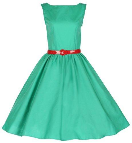 Lindy Bop Classy Vintage Audrey Hepburn Style 1950's Rockabilly Swing Evening Dress (2XL, Mint Green)