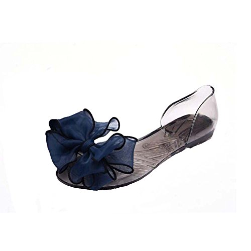 Sandali Appartamenti Decoration Summer Donna Anday Trasparente Peep Gelatina Navy Di Beach Toe Bohemian Flower H4xRzq