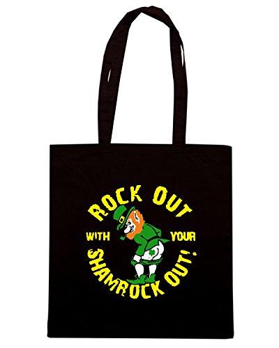 T-Shirtshock - Bolsa para la compra TIR0170 rock out with your shamrock out dark tshirt Negro