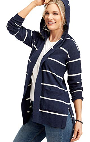 - maurices Women's Hooded Stripe Duster Cardigan X Small Blue Jasmine Combo