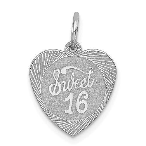 925 Sterling Silver Sweet 16 Heart Pendant Sixteenth Birthday Charm Fashion