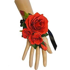 Wrist Corsage(XLWC003)-Beautiful Quality Keepsake Wrist Corsage-Roses and Pearl Bracelet 56