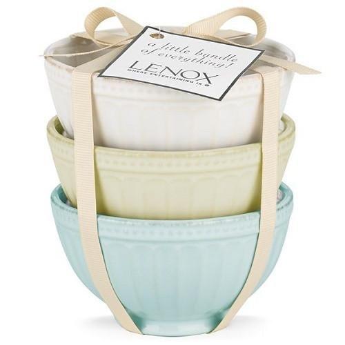 Lenox Small Bowl - Lenox French Perle Groove Bowls (Set of 3), Mini, Multicolor