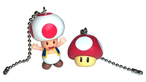 Mario Bros Ceiling Fan Pull Set by Wooden Androyd Studio (Red Toad & Mushroom)