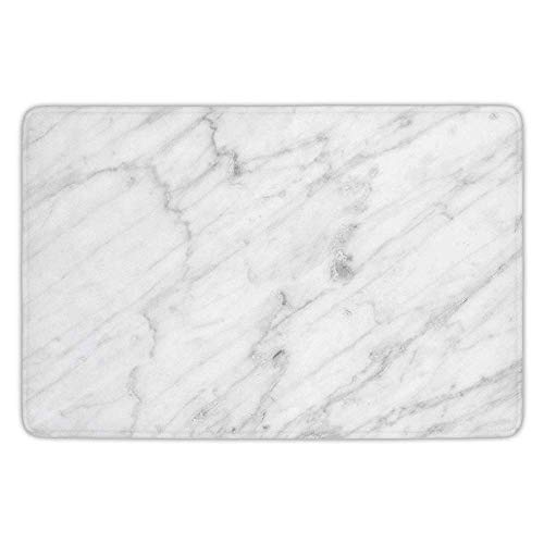 K0k2t0 Bathroom Bath Rug Kitchen Floor Mat Carpet,Marble,Carrara Marble Tile Surface Organic Sculpture Style Granite Model Modern Design,Dust Grey White,Flannel Microfiber Non-Slip Soft Absorbent