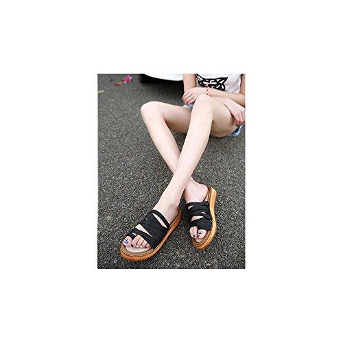 Calzado de mujer, Zapatos de la playa de Bohemia dulce de abalorios sandalias del pie del clip Negro