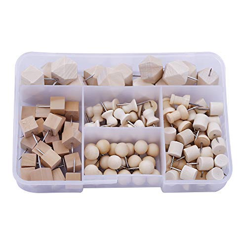 Wood Push Pins,MIUSIE Assorted 115Pcs Wooden Head Pins Steel Thumb Tacks for Cork Boards Map Photos Home Office Craft Calendar Projects with Box