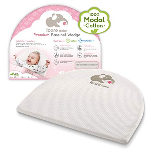 Bassinet Mattress Wedge - Baby Pillow for Acid Reflux - Organic Modal Cotton Breathable Fabric - 12-Degree Inclined Baby Sleeper Wedge - Firm Foam Head Support for Infants - Removable Cover
