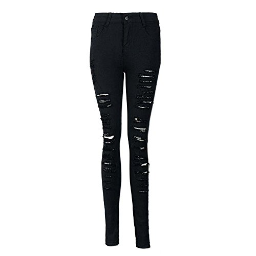 Jeans negro Para Mujeres Desgarrados Ajustados De Mezclilla Huateng zxARUTwR