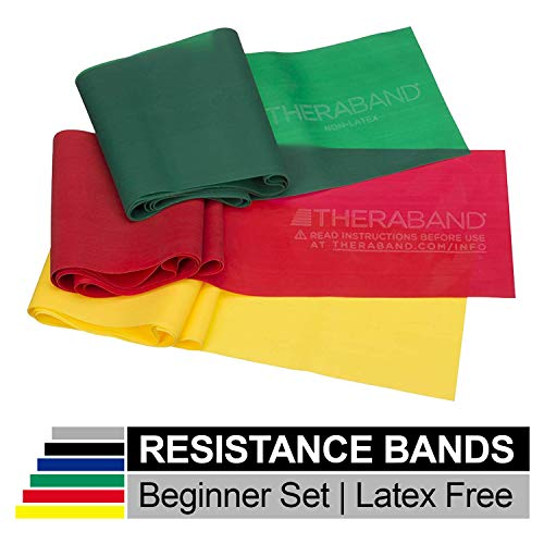 TheraBand Resistance Bands Set, Professional Non-Latex Elastic Band For Upper & Lower Body Exercise, Strength Training without Weights, Physical Therapy, Pilates, Rehab, Yellow & Red & Green, Beginner (Of Exercise Bands)