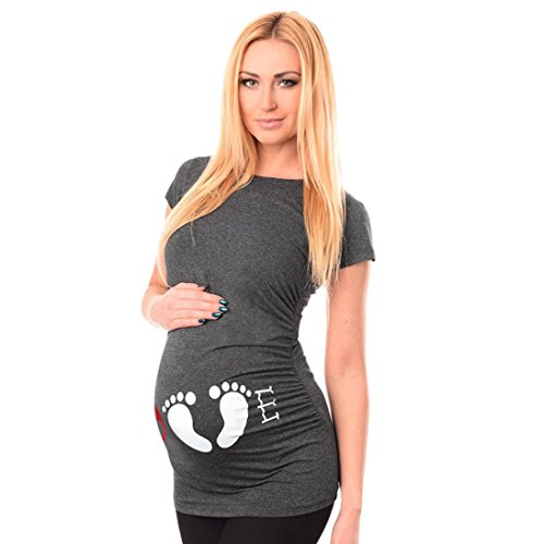 Mom Gray T-shirt - Maternity T Shirt Franterd Baby Bump Tee Pregnancy Pregnants Nursing Mother Tops for Mom to Be - LOVE (M, Gray)