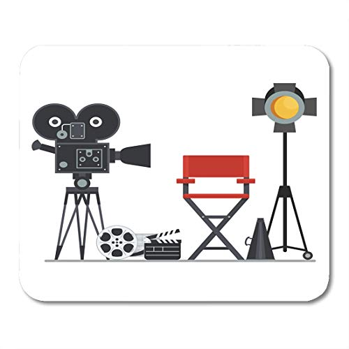 Emvency Mouse Pads Film Directors Chair with Megaphone Projector Camera and Clapboard Work on The of Flat Cartoon Objects Mouse Pad 9.5