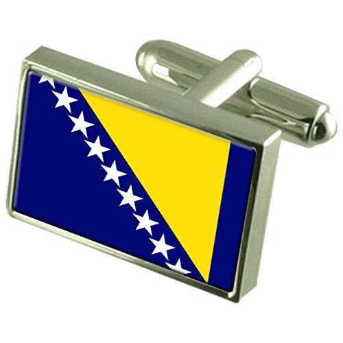 Bosnie et Herzégovine Drapeau de manchette en argent sterling gravé en boîte personnalisée