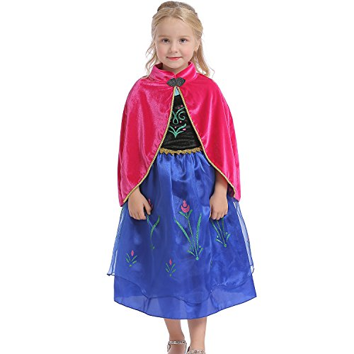 Abroda Girls Fancy Dress Party Outfit Princess Halloween Costume Cosplay Dress with Cloak (4-5 Years, Red Blue)]()