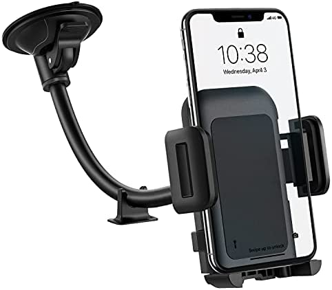Car Phone Mount, Long Arm Windshield Phone Holder, Washable Suction Cup Car Mount Compatible with iPhone 12 11 Pro Max, XS Max, XS, XR/X/8/7/6 Plus Etc