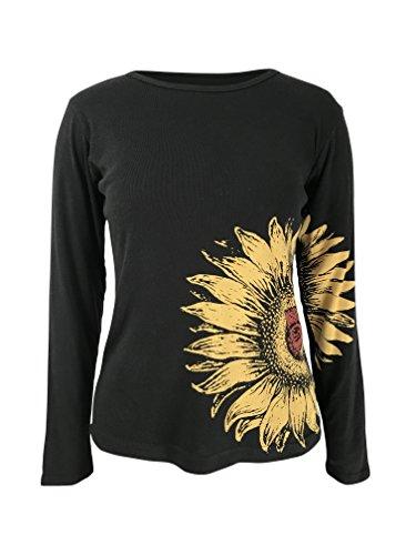 Green 3 Sunflower Long Sleeve Shirt (Black) - 100% Organic Cotton Womens T Shirt, Made in The USA (Large)