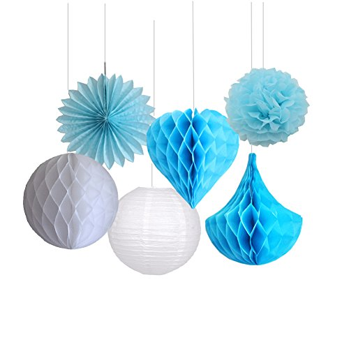 Zilue Set of 6 Tissue Paper Crafts Pom Poms Paper Fans Hearts Shape Honeycomb Balls Drops for Party Wedding Baby Shower Valentine Decoration Blue (Tissue Paper Art Halloween)