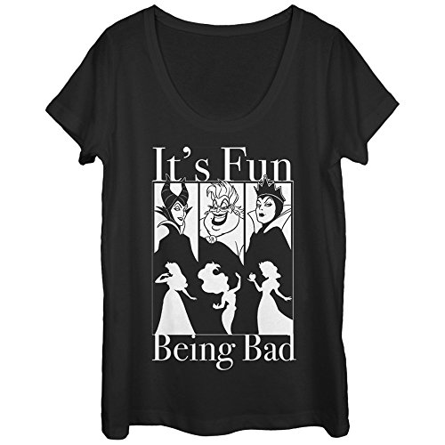 Disney Princesses Women's Fun Being Bad Wicked Witches Black Scoop Neck T-Shirt -
