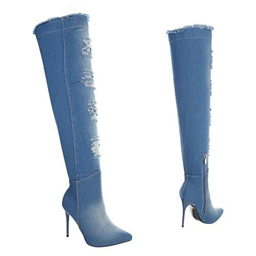 Ital-Design Overknees Damenschuhe Overknees Pfennig-/Stilettoabsatz High Heels Reißverschluss Stiefel Hellblau OD-219