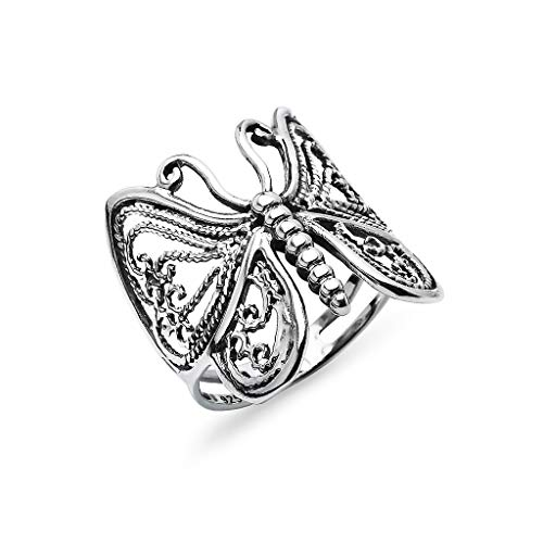 925 Sterling Silver Filigree Butterfly Comfort Fit Band Ring for Women Teens Girls | Nature Charm Friendship Promise Jewelry | Size 10 ()