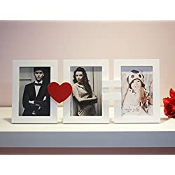 3 Openings Collage, Wooden Frame in White and Red Heart. The perfect way to say I Love You This Valentine's Day. Wall Hanging Collage Picture Photo Frame, 3 Openings. Pictures Size 4 x 6 (3 FRAMES)