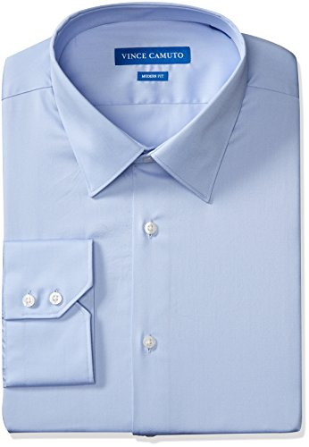 Vince Camuto Men's Modern Fit Dress Shirt, Light Blue Sateen, 16.5