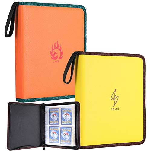 Zadii Carrying Case Bundle Compatible with Pokemon Trading Cards, 2 Card Collector Albums, Per Zippered Binder Holds Up to 240 Cards with 30 Premium 4-Pocket - Case Carrying Bundle