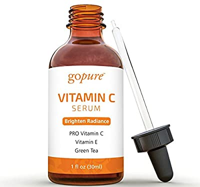 goPURE Naturals Vitamin C Serum for Face with Hyaluronic Acid, Vitamin E, Organic Aloe (1 FL OZ)