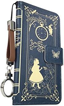 For docomo au softbank 4インチ iPhone SE ipse リングストラップ付 jiang おしゃれ かわいい 08-ipSE-ds1011-4 ダイアリーケース 手帳型 スマホケース Old Book Collection アリス(ネイビー)