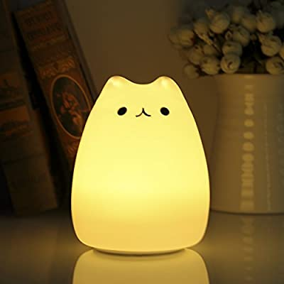Night Light,S&G Silicone Kitty Night Light for Kids Toddler Baby Girls Rechargeable Cute Night light
