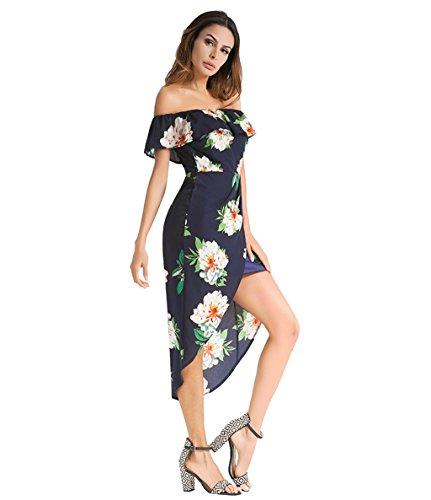Imprimer Dos Belle Ligne Plage White Longue paule Dames D't Blue Femmes Kitzen Jupe Vacances Strappy Vintage Soire XL Sexy Robe Floral Nu Plage qHYwA8Pn