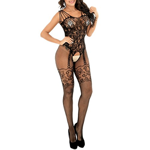 evershare Women Sexy Lingerie Fishnet Floral Crotchless Bodystocking Open Crotch Bodysuit For Sex Black