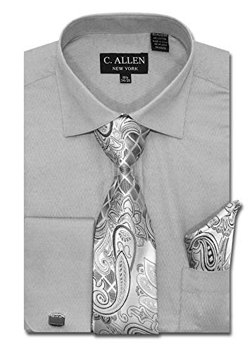 Men's Solid Micro Pattern Regular Fit Dress Shirts with Tie/Hanky Cufflinks Combo (Silver, 16.5