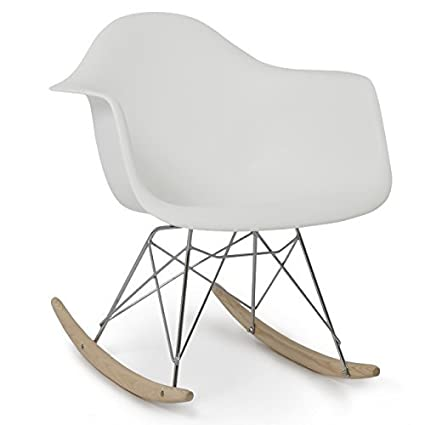 Magnificent Belleze Mid Century Style Rocking Retro Rocking Chair Mid Century Nursery Living Room Cradle White Bralicious Painted Fabric Chair Ideas Braliciousco