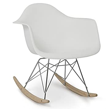 Belleze Mid Century Style Rocking Retro Rocking Chair Mid Century Nursery Living Room Cradle, White