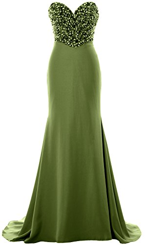 MACloth Women Strapless Long Prom Dress Crystals Formal Party Evening Gown Verde Oliva