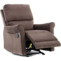 BONZY Glider Recliner Modern Roll Arm Recliner Chair - Chocolate