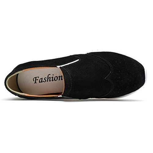 Round Platform Minitoo Slip Black Pumps Casual Women's Loafers on Toe AwHfw