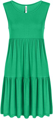 Kelly Green Sleeveless Summer Dress Reg and Plus Size Casual T Shirt Dress Layered Tiered Dress, Kelly Green Sleeveless, ()