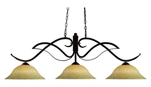 (126BRZ-GM16 Bronze Phoenix 3 Light Chandelier with Golden Mottle Glass Shade)