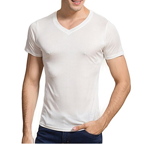 Manka Vesa Men's 100% Pure Silk Knitted T-Shirt Summer Short Sleeve Undershirts Slim Casual Tee Tops White Mens Silk V-neck