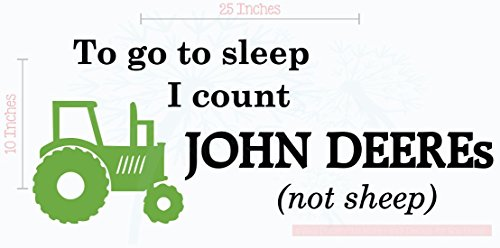 Bedroom Décor Count John Deeres Not Sheep Boy Wall Decals 2-Color 25x10-Inch Blk/Lime (John Wall Decal)