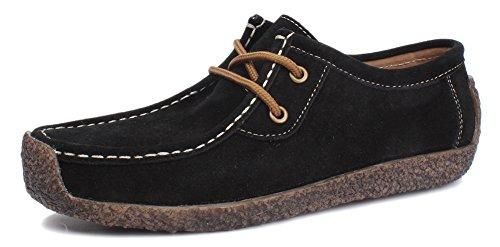 Kunsto Women's Nubuck Leather Snail Shoes Lace Up US Size 6.5 Black