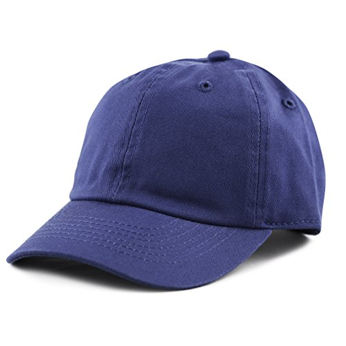 The Hat Depot Kids Washed Low Profile Cotton and Denim Plain Baseball Cap Hat (6-9yrs, Royal)