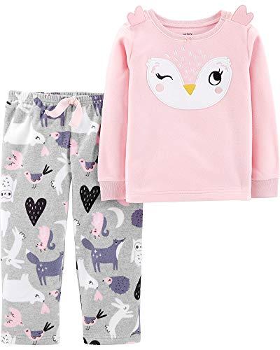(Carter's Girl's 2-Piece Fleece Pajamas Top and Pants Set (Pink/Grey, 4T))