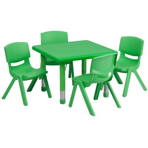 (Flash Furniture 24'' Square Green Plastic Height Adjustable Activity Table Set with 4 Chairs)
