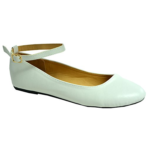 Cucu Fashion Womens Ballerina Ladies Girls Dolly Pumps Court Ankle Strap Low Flat Heel Casual Comfy Flats Summer Shoes Size UK 3-8 White 4CjfyqBQN